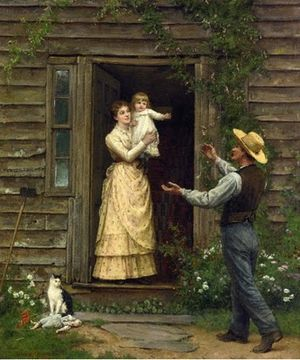 Jennie Augusta Brownscombe - Jennie Augusta Brownscombe, The Homecoming, 1885