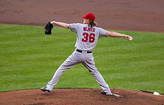 Jered Weaver - Weaver during a game on the road in 2012