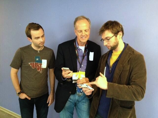 U.S. Senator Jerry Moran talking with entrepreneurs about their startup competing at the 2013 South by Southwest Accelerator competition.