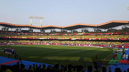 Fans at the Jawaharlal Nehru Stadium during an Indian Super League match Jewharlal Nehru Stadium Kochi ISL 2016 Final.jpg