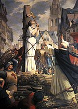Joan of Arc at the stake, mural in the Pantheon by Jules Lenepveu
