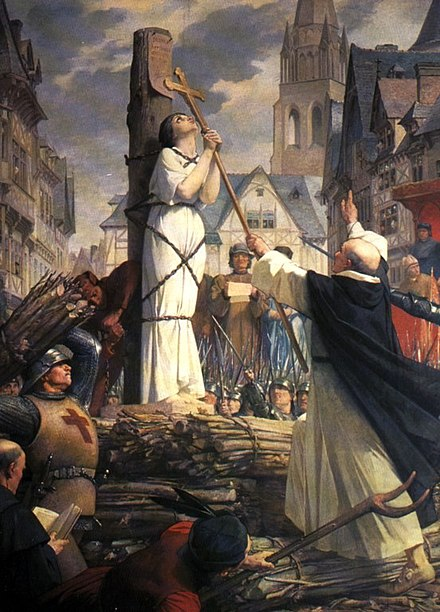 Joan of Arc burning at the stake in the city of Rouen, painting by Jules Eugene Lenepveu Joan of arc burning at stake.jpg