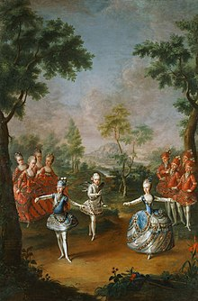 Fête Organized to Celebrate the Marriage of Emperor Joseph II to Princess Maria Josepha of Bavaria. The central figures are the three youngest siblings of Joseph, from left to right Archduke Ferdinand as the groom, Archduke Maximilian Franz as Cupid, and Archduchess Marie-Antoinette as the bride. (Source: Wikimedia)