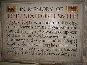 John Stafford Smith - John Stafford Smith's memorial in Gloucester Cathedral