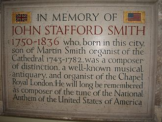 The Star-Spangled Banner - The memorial to John Stafford Smith in Gloucester Cathedral, Gloucester, England