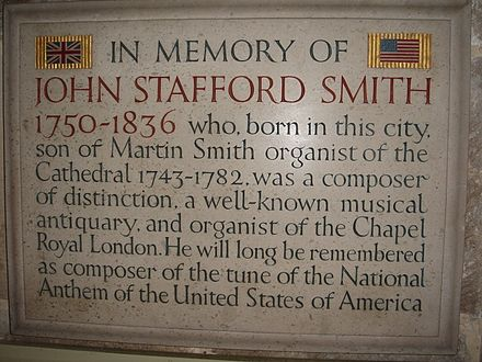 A memorial to John Stafford Smith in Gloucester Cathedral, Gloucester, England JohnStaffordSmith01.jpg