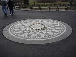 The Strawberry Fields Memorial in New York City's Central Park, dedicated to the memory of John Lennon