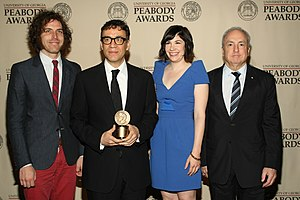 Portlandia (TV series) - Jonathan Krisel, Fred Armisen, Carrie Brownstein and Lorne Michaels at the Peabody Awards.