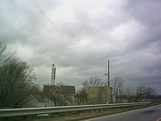 Jordan Point, Virginia - Jordan Point seen from the approach to the Benjamin Harrison Memorial Bridge; visible are the skeleton lighthouse tower and keeper's dwelling of the former Jordan Point Light