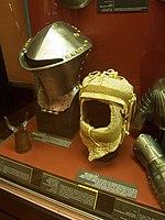 Jousting helmet and padding (14730635552).jpg