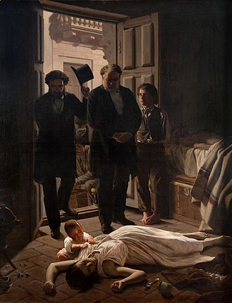 Yellow fever in Buenos Aires - Yellow Fever Episode, which occurred in Buenos Aires in 1871, oil on canvas by Juan Manuel Blanes