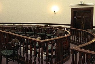 Jury - An empty jury box at an American courtroom in Pershing County, Nevada