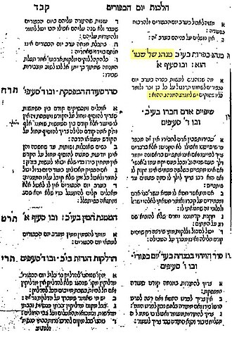 Kapparot - The original printing of Joseph ben Ephraim Karo's Shulchan Aruch, Orach Chayim, ch. 605, states in the chapter heading that kapparot is a nonsensical custom that should be abolished. Later editions removed this. However, according to Samson Morpurgo, (Shemesh Tsedakah, 1:23) the chapter heading was not written by Rabbi Karo but was inserted by the publishers.