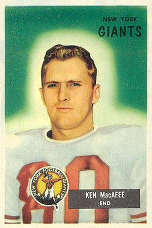 Ken MacAfee (wide receiver) - MacAfee on a 1955 Bowman football card