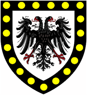 Thomas Killigrew - Arms of Killigrew: Argent, an eagle displayed with two heads sable a bordure of the second bezantée. The bezantée bordure indicates a connection to the ancient Earls of Cornwall