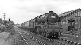 Kings Langley railway station - Blackpool - London express in 1953