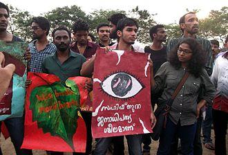 Politics of Kerala - Kiss of Love protest 2014