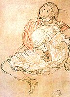 Gustav Klimt's Woman seated with thighs apart (1916)