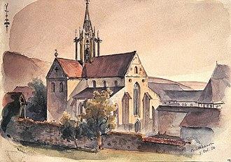 Bebenhausen Abbey - Image: Klosterkirche Bebenhausen Aquarell von Eduard von Kallee, 1854