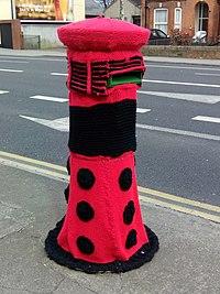 Knitted Dalek pillar box.jpg