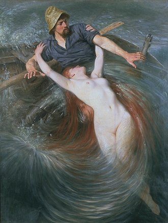 Sprite (folklore) - In Knut Ekwall's The Fisherman and The Siren, a siren pulls a fisherman underwater.