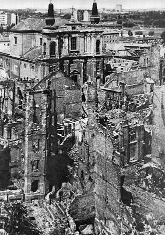 Church of St Francis in Warsaw - Church among the ruins of the Warsaw New Town (1945)
