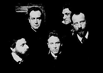 Fanny zu Reventlow - Karl Wolfskehl, Alfred Schuler, Ludwig Klages, Stefan George, Albert Verwey. Photograph by Karl Bauer