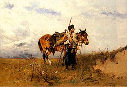 """Cossack on duty"", painting by Józef Brandt."