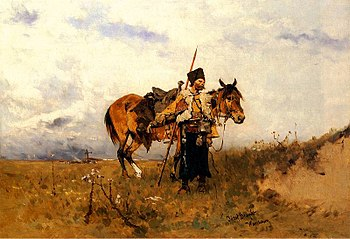 """Cossack on duty"", painting by Józef..."