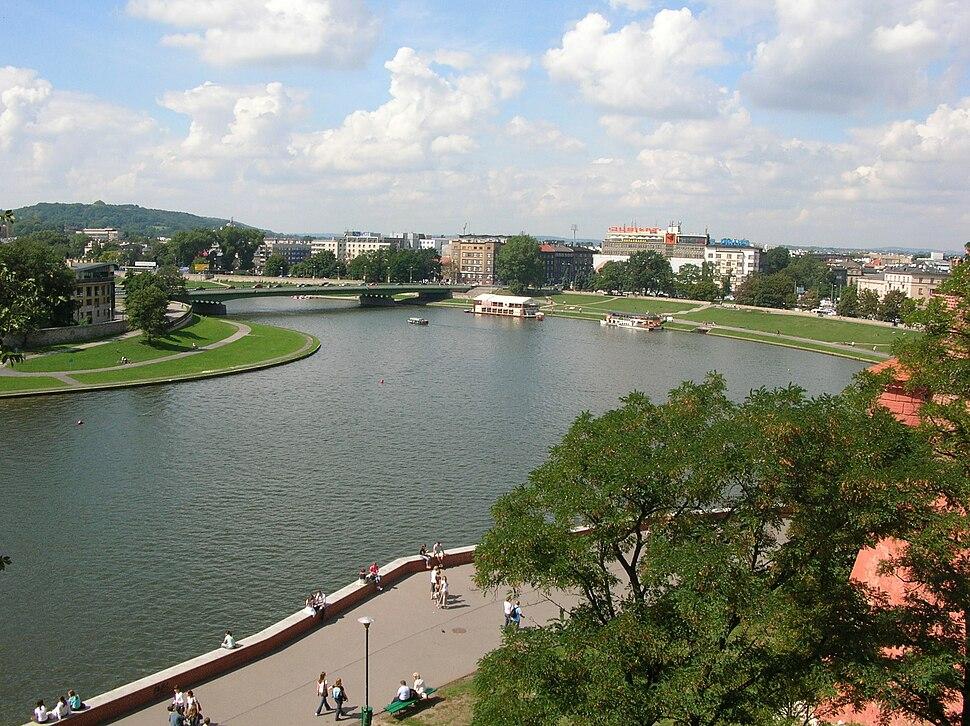 Widok na Wisłę z Wawelu w Krakowie