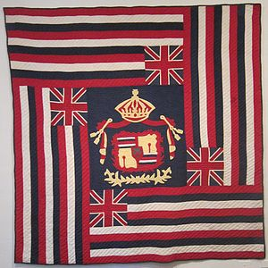 Hawaiian art - Image: Ku'u Hae Aloha (My Beloved Flag), Hawaiian cotton quilt from Waimea, before 1918, Honolulu Academy of Arts