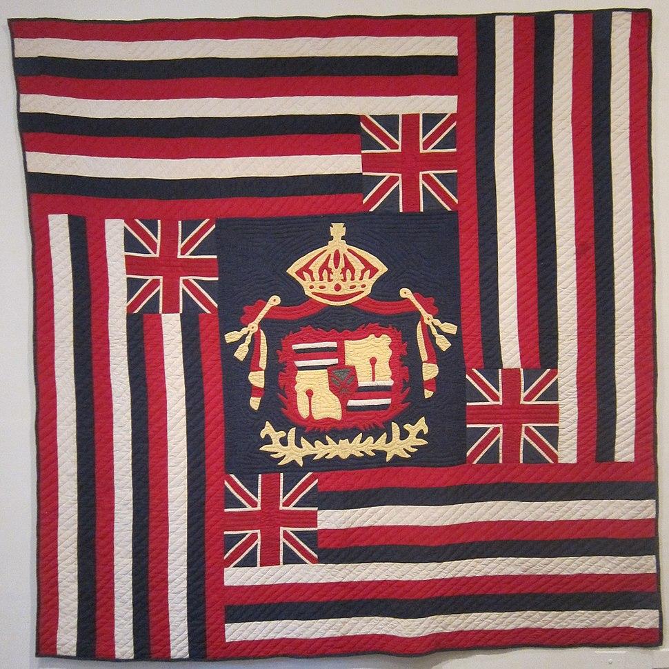 Ku'u Hae Aloha (My Beloved Flag), Hawaiian cotton quilt from Waimea, before 1918, Honolulu Academy of Arts