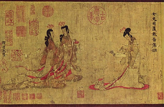 Part of the scroll for Admonitions of the Instructress to the Palace Ladies, probably a Tang dynasty copy of the original by Gu Kaizhi Ku K'ai-chih 001.jpg