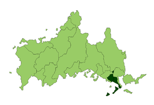 Kumage District, Yamaguchi - Location of Kumage District in Yamaguchi Prefecture