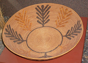 El Vallecito -  Kumeyaay coiled basket, woven by Celestine Lachapa, 19th century, San Diego Museum of Man
