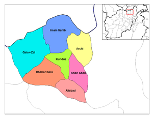 Districts of Afghanistan - Districts of Kunduz.