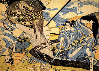 Tsuchigumo - A depiction of Minamoto no Yorimitsu slaying tsuchigumo yokai, by Utagawa Kuniyoshi from the beginning of the Ansei period. The large version continues for 2 more images.