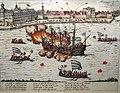 """Kupferstich von Franz Hogenburg in D.Graminäus """"Beschreibung derer Fuerstlich Gueligscher Horczeit ..."""", Köln 1587, Schiffsfeuerwerk auf dem Rheine.jpg"""