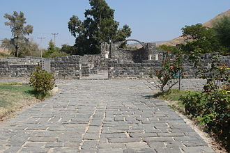 Kursi, Golan Heights - The church seen from the paved street leading up to it.