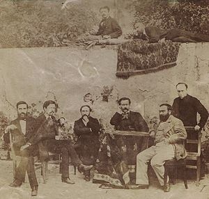 Louis Duchesne - Louis Duchesne, standing at right, l'Ecole Française de Rome, around 1873-1876.