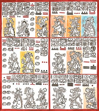 Maya codices - plates 10 and 11 of the Dresden Maya Codex. Drawing by Lacambalam, 2001
