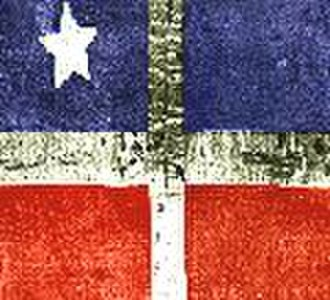 """Flag of Puerto Rico - A photograph of the Lares revolutionary flag of 1868, also known as the """"First Puerto Rican Flag"""" in Puerto Rico"""