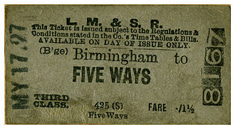 Five Ways railway station - LMS Birmingham to Five Ways train ticket, issued on 17 May 1927