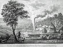 Gravure en noir et blanc: le bâtiment de la mine est doté d'une cheminée et tour pyramidale au milieu d'un paysage champêtre.