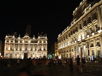 Place des Terreaux - The square illuminated at night
