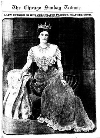 Lady Curzon's peacock dress - Image: Lady Curzon's peacock gown Chicago Tribune 27 September 1903
