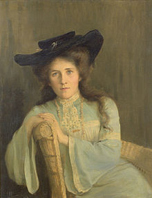 oil painting of a young woman in Edwardian dress, seated and facing the viewer