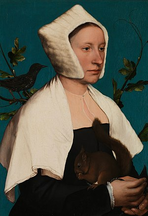 Azurite - The background of Lady with a Squirrel by Hans Holbein the Younger was painted with Azurite