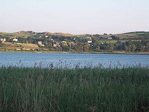 Il canneto di Pergusa in primo piano con uno scorcio del lago sullo sfondo.