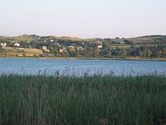 Enna - The Lake of Pergusa, the mythological location of the Rape of Persephone.